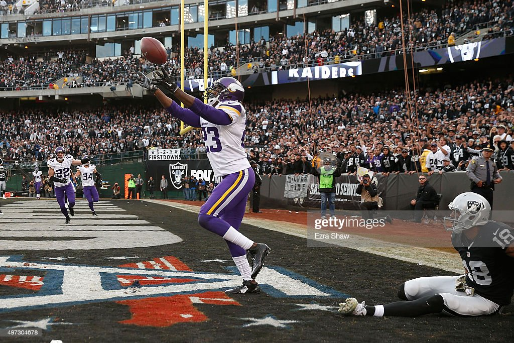 Cornerback Terence Newman of the Minnesota Vikings intercepts the pass intended for wide receiver Andre Holmes of the Oakland Raiders in the fourth...
