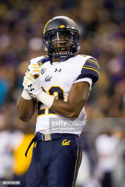 Cornerback Traveon Beck of the California Bears gets set for the next play in a game between the Washington Huskies and the California Golden Bears...
