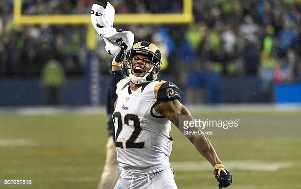 Cornerback Trumaine Johnson of the St Louis Rams celebrates after the Rams recovered a fumble during the fourth quarter of the game against the...