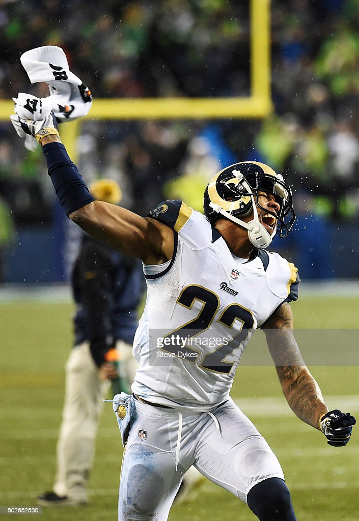 Cornerback Trumaine Johnson #22 of the St. Louis Rams celebrates after the Rams recovered a fumble during the fourth quarter of the game against the Seattle Seahawks at CenturyLink Field on December 27, 2015 in Seattle, Washington. The Rams won the game 23-17.