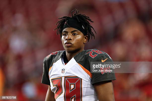 Cornerback Vernon Hargreaves III of the Tampa Bay Buccaneers during a preseason game against the Cleveland Browns at Raymond James Stadium on August...