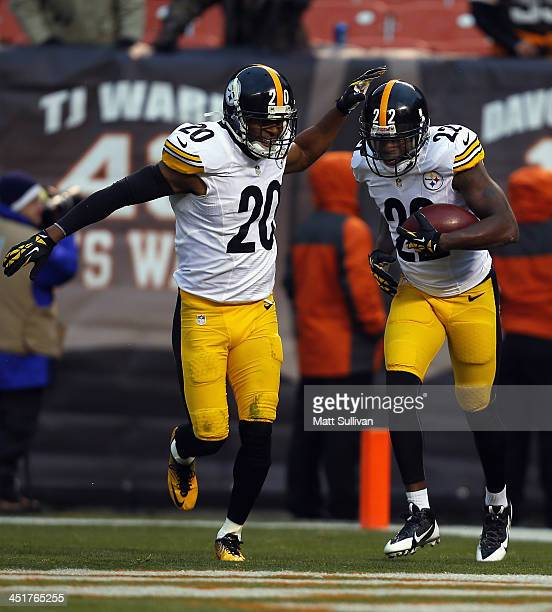 Cornerback William Gay of the Pittsburgh Steelers celebrates with safety Will Allen after scoring a touchdown against the Cleveland Browns at...