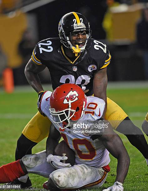 Cornerback William Gay of the Pittsburgh Steelers reacts after tackling wide receiver Tyreek Hill of the Kansas City Chiefs during a game at Heinz...