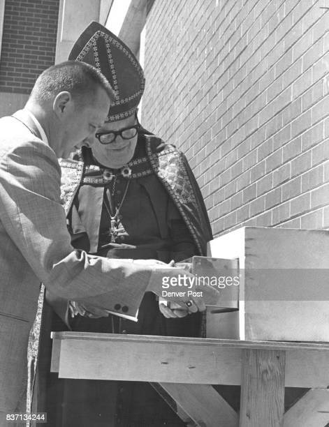 Cornerstone Laid At Spalding House Tuesday Participating in the ceremony at the Episcopal hospital are Colorado Episcopal Bishop Joseph S Minnis and...