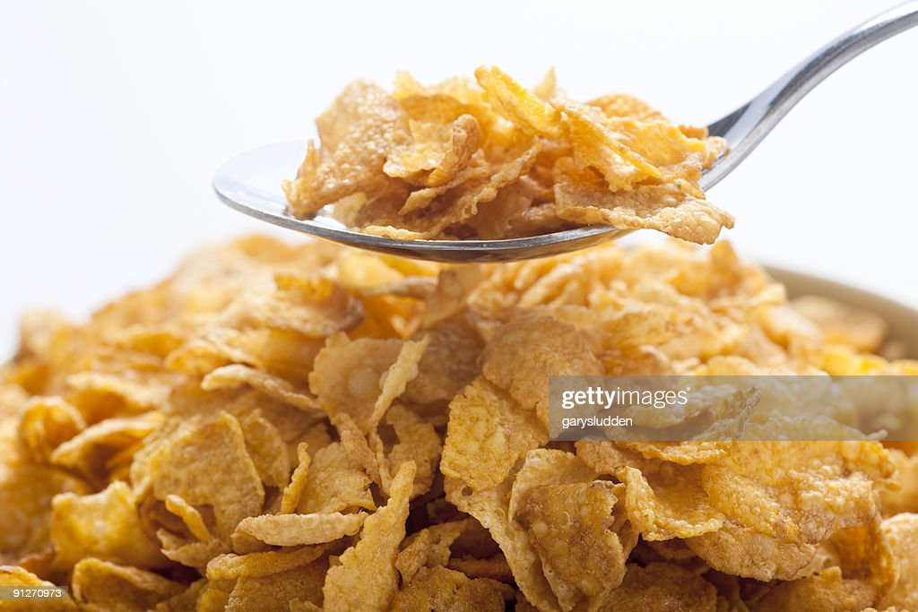 cornflakes in bowl : Stock Photo