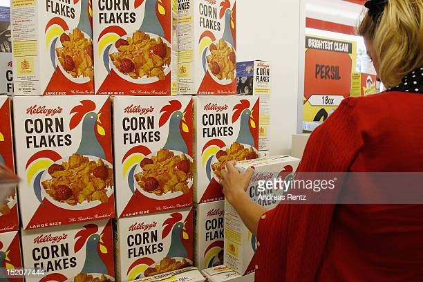 Cornflakes packages are pictured in the historical Tesco super market at the Goodwood Revival 2012 on September 16 2012 in Chichester United Kingdom