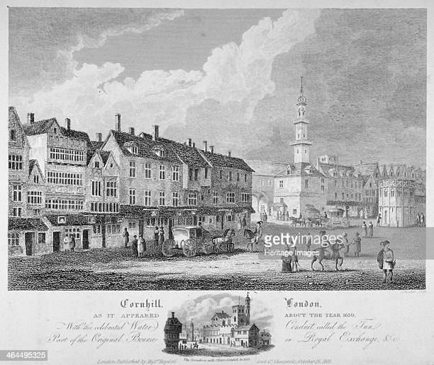 Cornhill City of London c1630 View of Cornhill including part of the original Royal Exchange and the water conduit known as the Tun on the right Also...