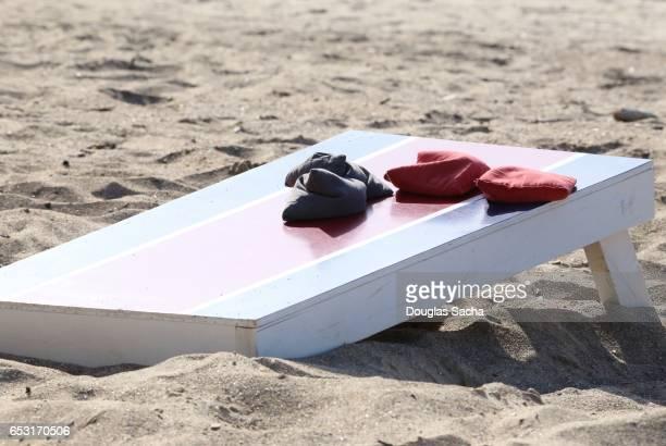 Cornhole board and bags