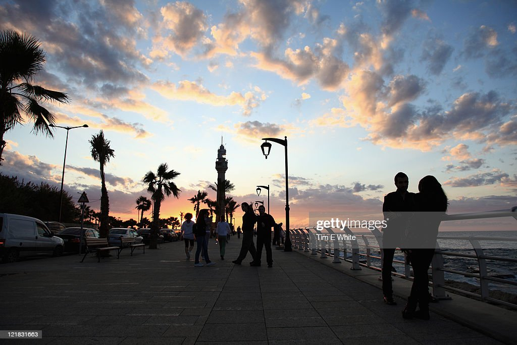 Corniche at sunset, Beirut, Lebanon : Stock Photo