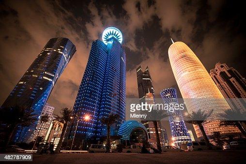 Corniche Doha Qatar Modern Urban Skyscrapers