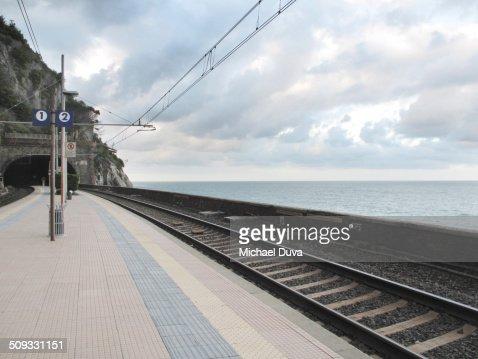 Corniglia Train tracks, Cinque Terra along the sea