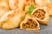 Cornish Pasty - Baked pasty filled with meat and potatoes. Cornwall's national dish.