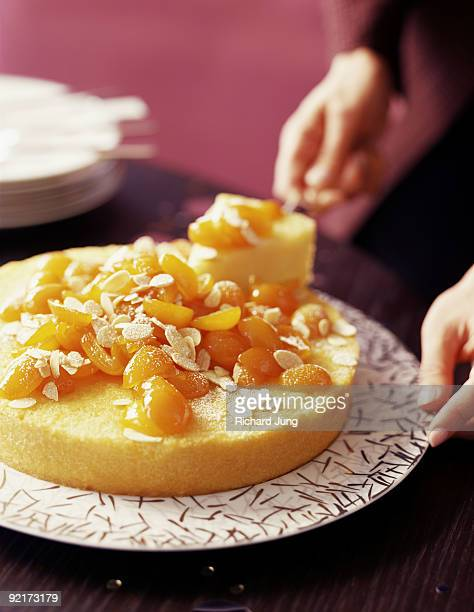 Cornmeal cake with candied kumquats and almonds