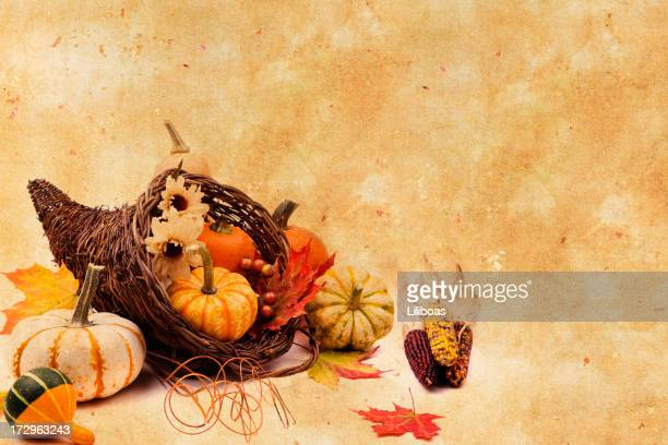 Cornucopia on Texture Background