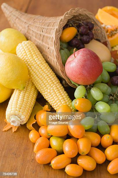 Cornucopia with fruit and vegetables