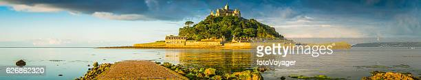 Cornwall cobbled causeway St Michaels Mount summer sunrise panorama UK