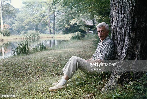 Mark Van Doren a dean of American poets and critics is shown in settings around his home in the Cornwall Hollow section of Cornwall Conn Having...