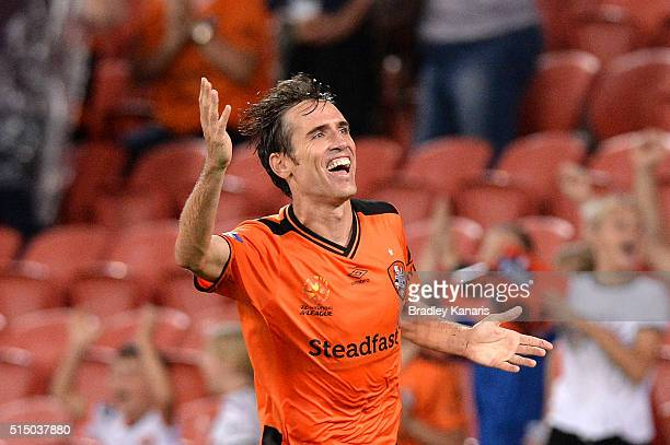Corona of the Roar celebrates scoring a goal during the round 23 ALeague match between the Brisbane Roar and Melbourne Victory at Suncorp Stadium on...