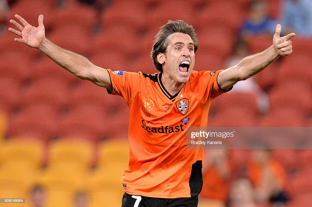 Corona of the Roar disputes the referees call during the round 19 A-League match between the Brisbane Roar and the Newcastle Jets at Suncorp Stadium on February 12, 2016 in Brisbane, Australia.