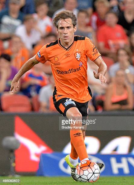 Corona of the Roar in action during the round four ALeague match between Brisbane Roar and Adelaide United at Suncorp Stadium on October 31 2015 in...