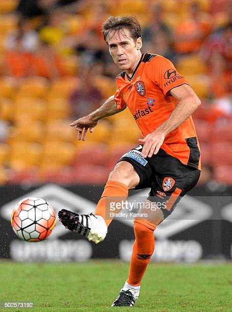 Corona of the Roar kicks the ball during the round 12 ALeague match between the Brisbane Roar and Melbourne City FC at Suncorp Stadium on December 27...
