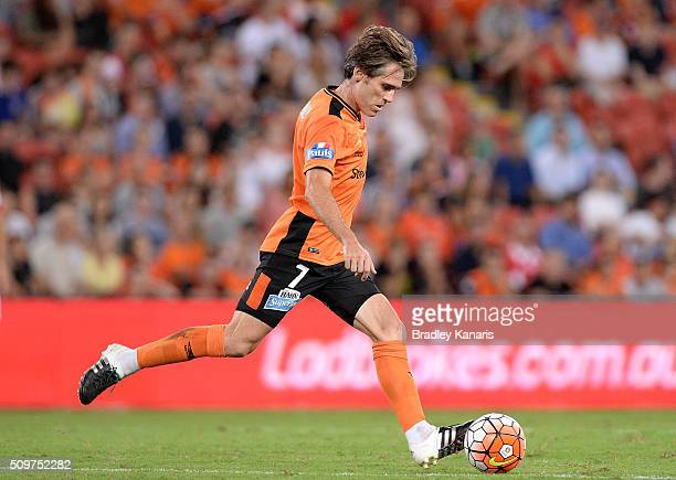 Corona of the Roar kicks the ball during the round 19 ALeague match between the Brisbane Roar and the Newcastle Jets at Suncorp Stadium on February...