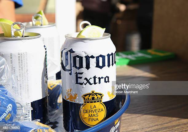 Corona products on display during Jets Chefs The Ultimate Tailgate hosted by Joe Namath and Mario Batali Food Network Cooking Channel New York City...