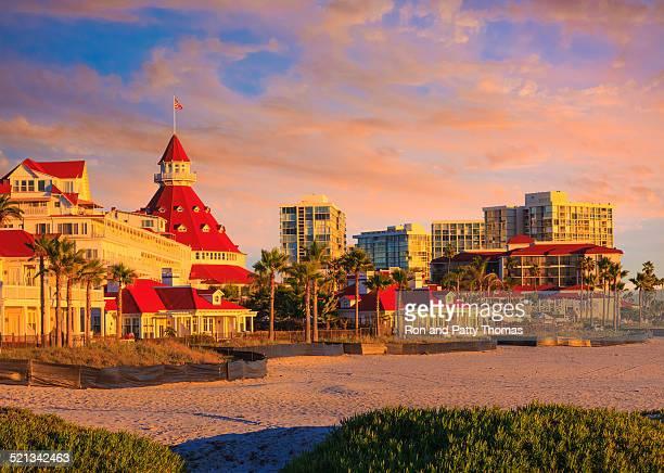 Coronado Island and beach at sunset San Diego, California