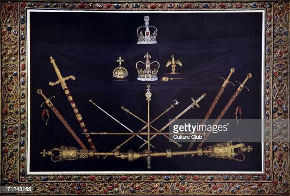 Coronation ceremony regalia at the time of the coronation of King George V 1910 Imperial Crown Crown of St Edward Royal Sceptre Orb or Mound Ampulla...