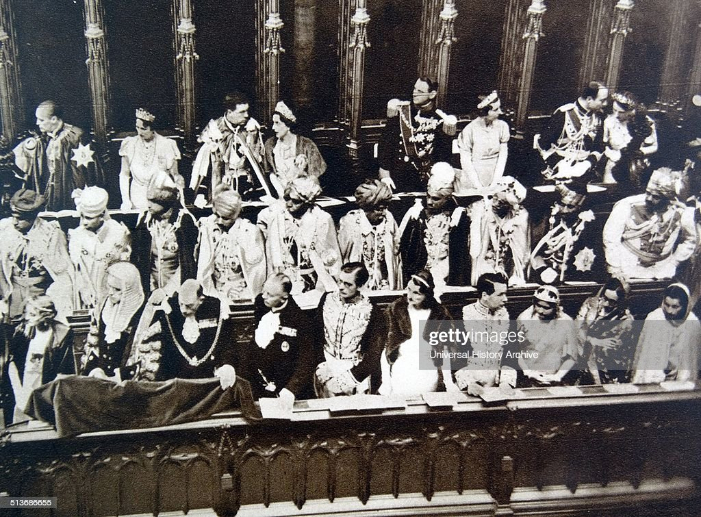 Coronation of British King George VI in Westminster Abbey George VI King of the United Kingdom and the Dominions of the British Commonwealth from 11...