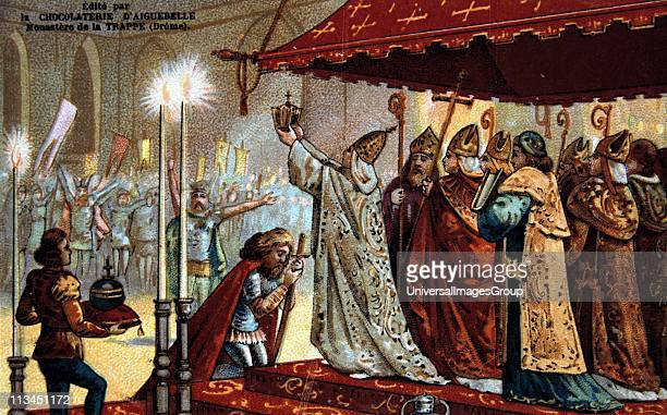 Coronation of Charlemagne Charlemagne King of the Franks from 768 and Holy Roman Emperor from 800 France Royalty Nineteenth century Trade Card...