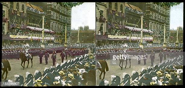 Coronation of King Edward VII of England Marshal Roberts and the Yeomen of the Guard London 9th August 1902 Stereoscopic view