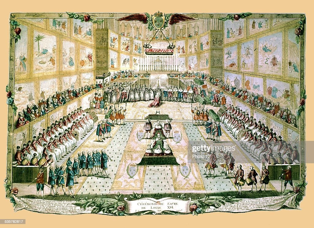 Coronation of Louis XVI. Talleyrand, whose father officiated, attended the ceremony as an underdeacon, 18th century, France,, .