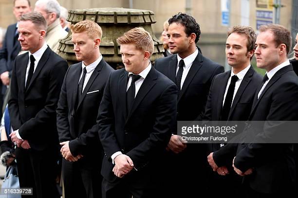 Coronation St cast members and pall bearers Antony Cotton Mikey North Sam Aston Ryan Thomas Jack P Shepherd and Alan Halsall pay their respects...