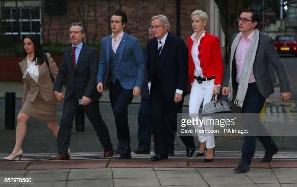 Coronation street actor Bill Roache arrives at Preston Crown Court with Rosalind Bennett and her husband Linus Roache James Roache daughter Verity...