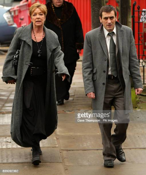 Coronation Street actors Anne Kirkbride and Chris Gascoigne arrive for a memorial service for Sara Roache the wife of Coronation Street actor Bill at...