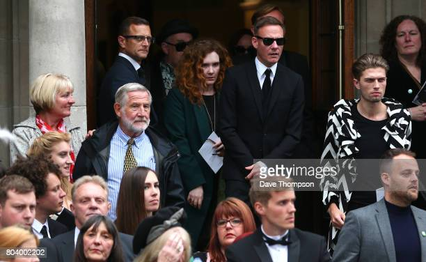 Coronation Street actors Antony Cotton and Jennie McAlpine leave the funeral of Martyn Hett at Stockport Town Hall on June 30 2017 in Stockport...