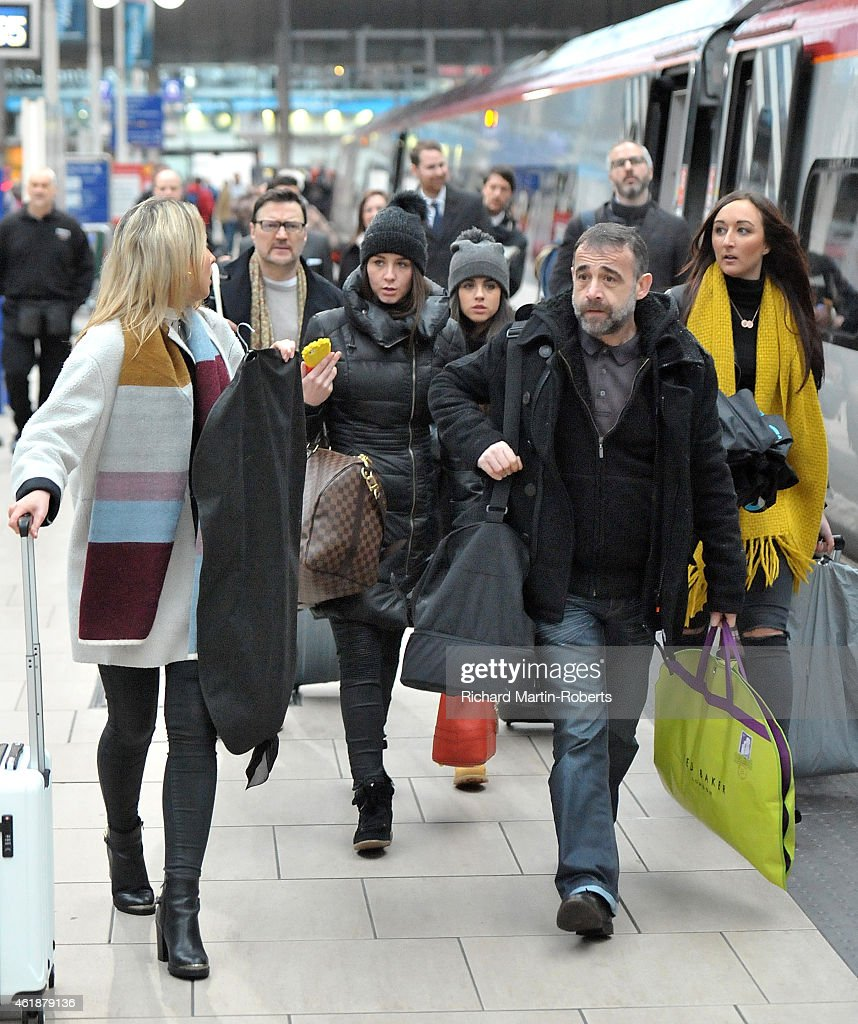Coronation Street Cast Members including Michael Le Vell (R), Georgia May Foote and Ian Puleston Davies board a train for London to go to the National TV Awards on January 21, 2015 in Manchester, England.