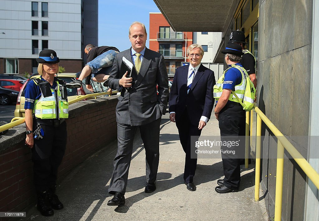 Coronation Street Star William Roache (R) leaves Preston Magistrates Court on June 7, 2013 in Preston, Lancashire. Actor William Roache has been charged with five counts of indecent assault involving four girls aged between 12 and 16 in the 1960s.