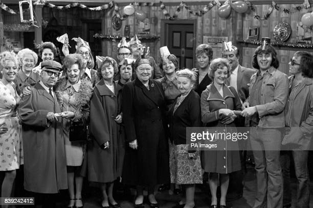 Coronation Street stars during a Christmas Party sequence at the Rovers Return Left to right Julie Goodyear as Bet Lynch Doris Speed as Annie Walker...