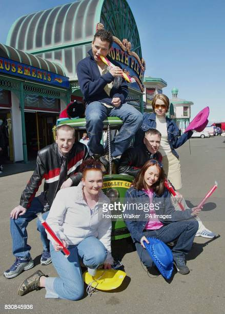 Coronation Street stars Ryan Thomas Andy Whyment Alan Halsall Georgia Taylor Jennie McAlpine and Samia Ghadie during a photocall on Blackpool's North...