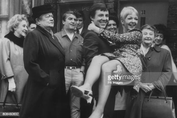 Coronation Street's Dennis Tanner brings home his bride Jenny Sutton as other residents including Ena Sharples look on
