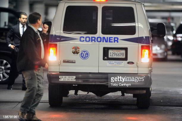 Coroners arrive and after time leave the Beverly Hilton Hotel possibly carrying the body of the singer Whitney Houston in the early hours of February...