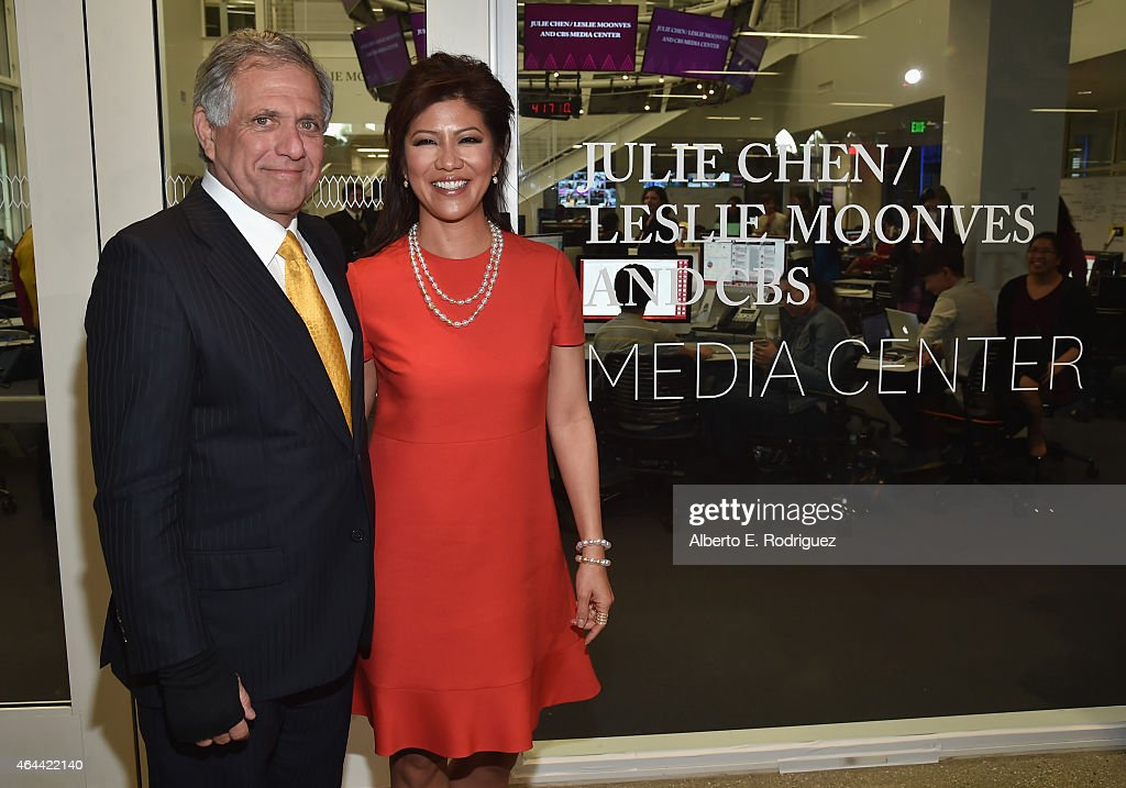 Corp Chairman CEO Leslie Moonves and TV host Julie Chen attend the naming of the Julie Chen/Leslie Moonves and CBS Media Center at The Wallis...