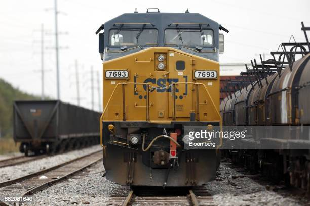 Corp freight train sits parked in Bowling Green Kentucky US on Thursday Oct 12 2017 CSX is scheduled to release earnings figures on Oct 17...