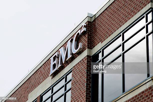 EMC Corp signage is displayed at the company's headquarters building in Hopkinton Massachusetts US on Tuesday Oct 13 2015 Dell Inc's $67 billion...