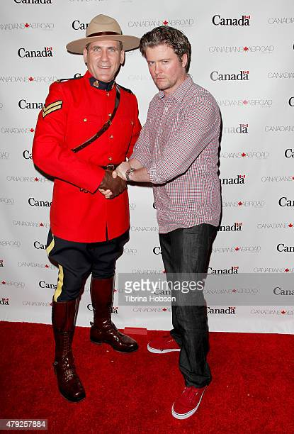 Corporal Jeff Peters and actor David J Phillips attend the Canada Day in LA party at on July 1 2015 in Santa Monica California