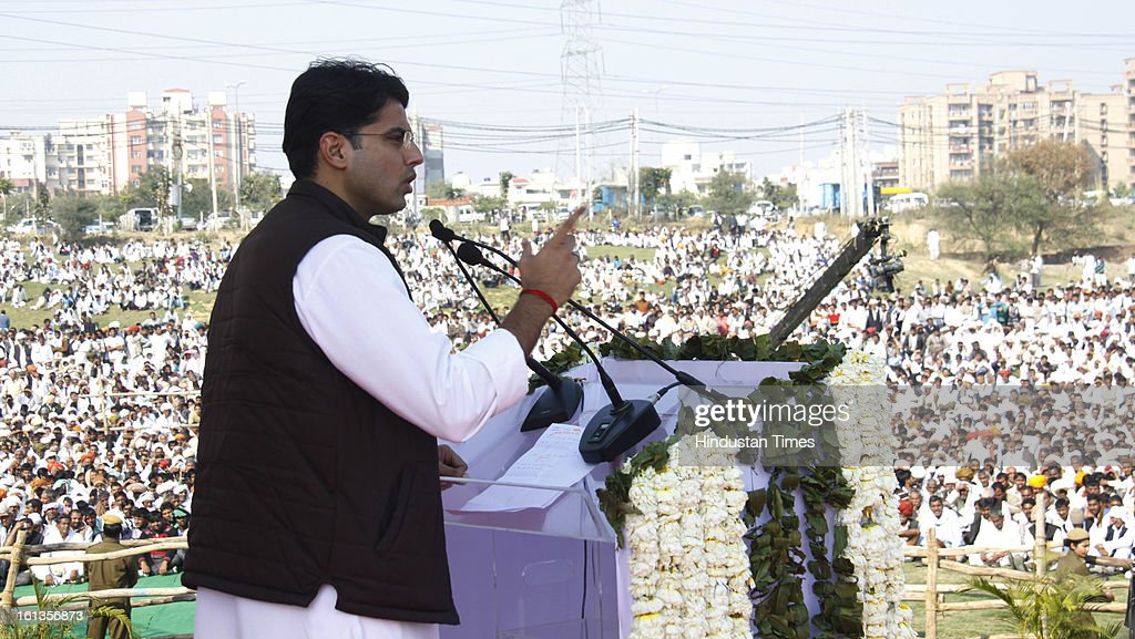 """Corporate Affairs minister Sachin Pilot at Kisan Sammelan on the occasion of late Rajesh Pilot's 68th birth anniversary on February 10, 2013 in Gurgaon, India. Pilot listed the """"pro-farmer and pro-people"""" initiatives taken by the Congress-led coalition in the past eight years."""