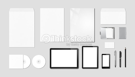 Corporate branding mockup template, grey background : Stock Photo