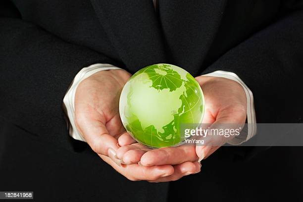 Corporate Business Hands Holding Earth Friendly Green World Globe—Asia